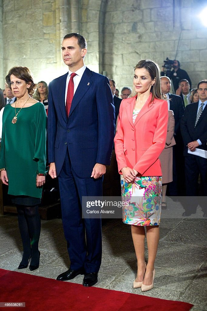 Prince Felipe of Spain and Princess Letizia of Spain appear for the first time since the announcement of King Juan Carlos of Spain abdication as they attend the 'Prince de Viana' award 2014 at the San Salvador de Leyre Monastery on June 4, 2014 in Navarra, Spain.