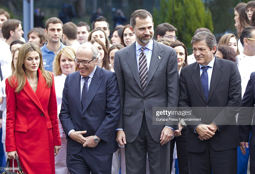 Prince Felipe of Spain and Princess Letizia of Spain are seen visiting 'Eyes Institute Fernandez Vega' on January 24, 2013 in Oviedo, Spain.