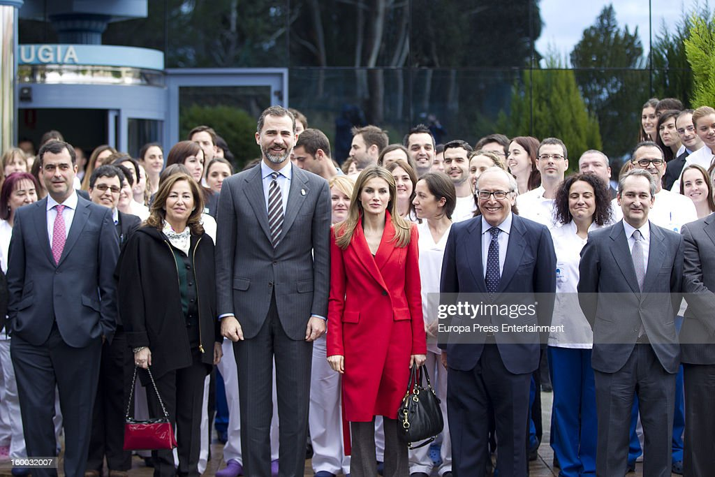 Prince Felipe of Spain and Princess <a gi-track='captionPersonalityLinkClicked' href=/galleries/search?phrase=Letizia+of+Spain&family=editorial&specificpeople=158373 ng-click='$event.stopPropagation()'>Letizia of Spain</a> are seen visiting 'Eyes Institute Fernandez Vega' on January 24, 2013 in Oviedo, Spain.