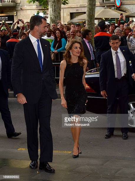 Prince Felipe of Spain and Princess Letizia of Spain arrive at the Teatre Liceu for a night at the opera on May 30 2013 in Barcelona Spain