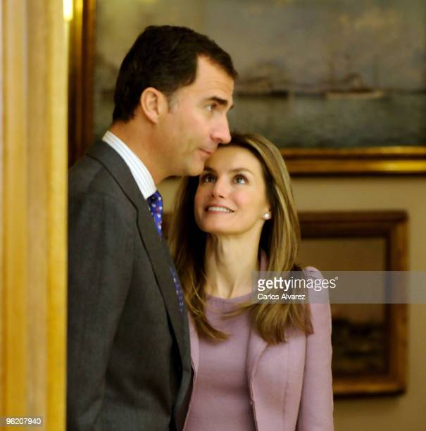 Prince Felipe of Spain and Princess Letizia of Spain at Zarzuela Palace on January 27 2010 in Madrid Spain