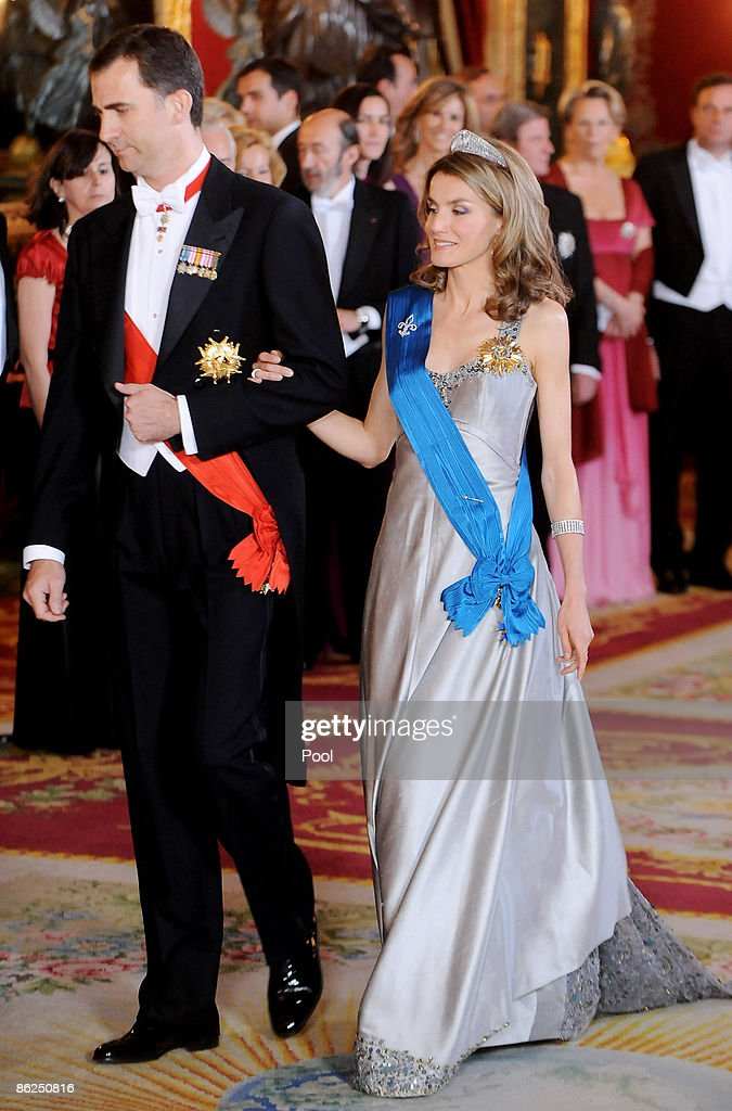Prince Felipe of Spain and Princess Letizia of Spain attend a Gala Dinner honouring the French President Nicolas Sarkozy at the Royal Palace on April...
