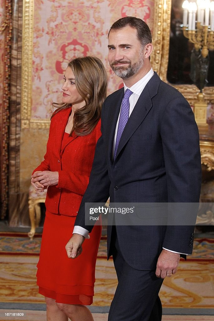 Prince Felipe of Spain and Princess <a gi-track='captionPersonalityLinkClicked' href=/galleries/search?phrase=Letizia+of+Spain&family=editorial&specificpeople=158373 ng-click='$event.stopPropagation()'>Letizia of Spain</a> attend a lunch for the '2013 Cervantes Award' at the Royal Palace on April 22, 2013 in Madrid, Spain.