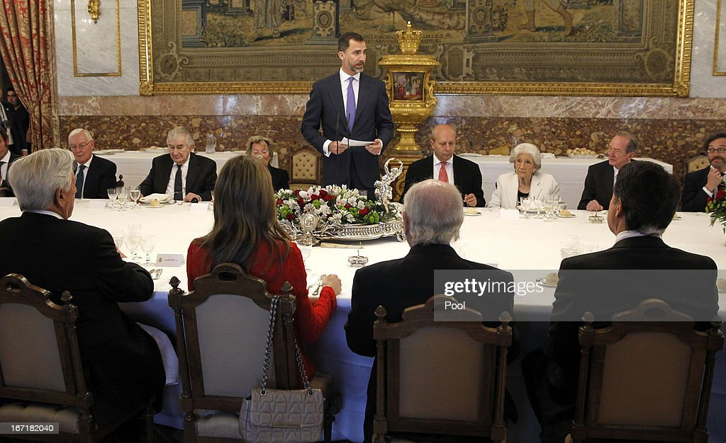 Prince Felipe of Spain and Princess Letizia of Spain attend a lunch for the '2013 Cervantes Award' at the Royal Palace on April 22, 2013 in Madrid, Spain.