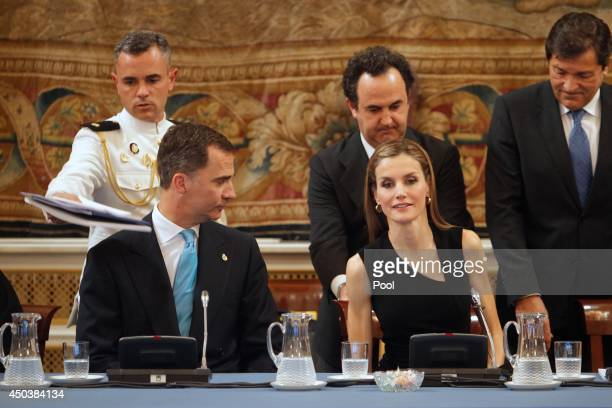 Prince Felipe of Spain and Princess Letizia of Spain attend a meeting with members of the 'Principe de Asturias Foundation' at the Royal Palace on...