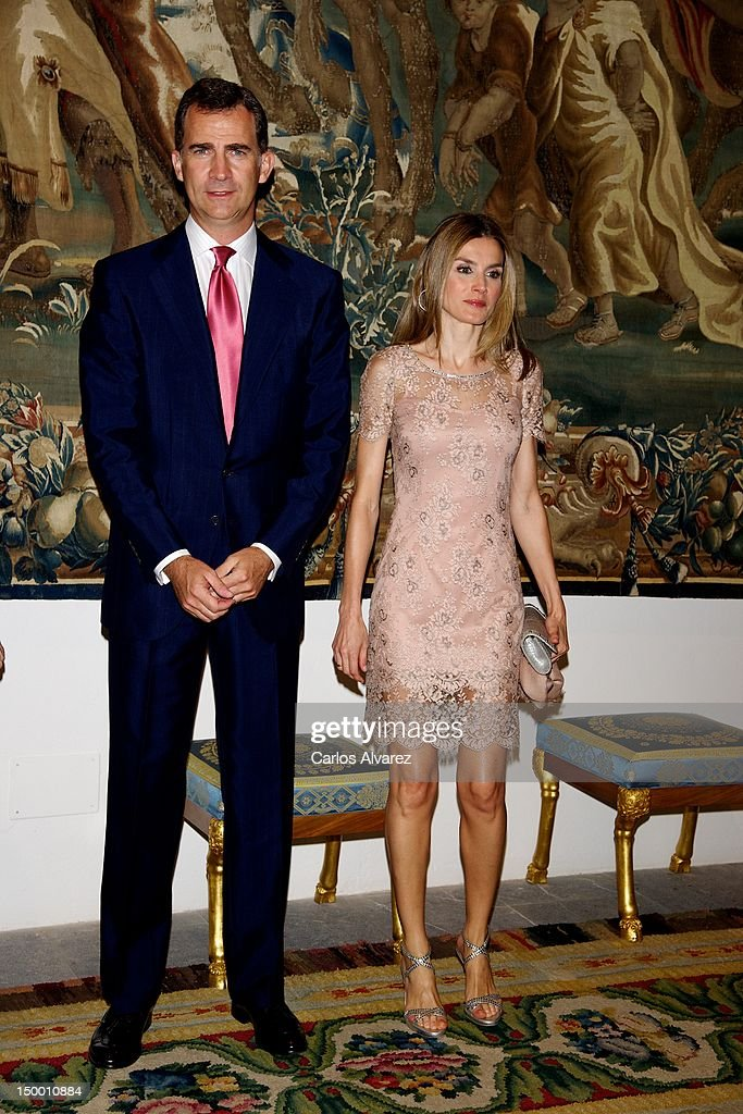 Prince Felipe of Spain and Princess Letizia of Spain attend an official dinner at Almudaina Palace on August 8, 2012 in Palma de Mallorca, Spain.