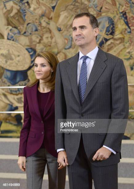 Prince Felipe of Spain and Princess Letizia of Spain attend an Audience with members of the Spanish Federation of Blood Donors at Zarzuela Palace on...