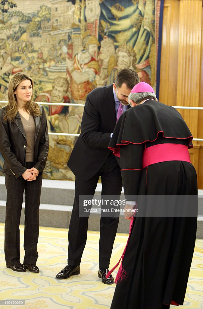 Prince Felipe of Spain and Princess Letizia of Spain attend audiences at Zarzuela Palace on January 9, 2013 in Madrid, Spain.