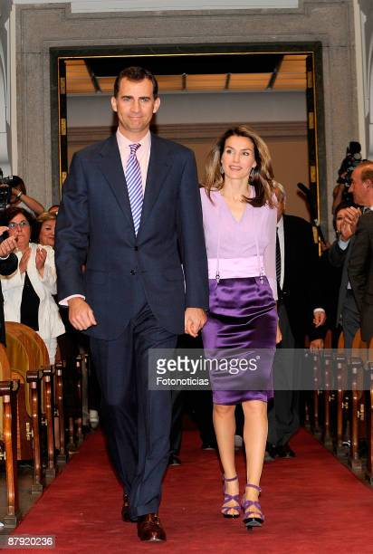 Prince Felipe of Spain and Princess Letizia of Spain attend Caja Madrid postgraduate grants ceremony at Real Academia de Bellas Artes de San Fernando...