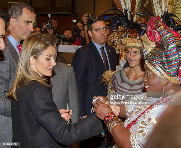 Prince Felipe of Spain and Princess Letizia of Spain attend 'FITUR' International Tourism Fair on January 22 2014 in Madrid Spain