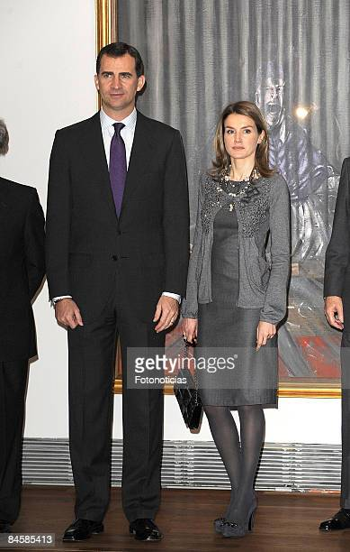 Prince Felipe of Spain and Princess Letizia of Spain attend Francis Bacon exhibition opening at El Prado Museum on February 2 2009 in Madrid Spain