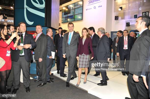 Prince Felipe of Spain and Princess Letizia of Spain attend 'GSMA Mobile World Congress 2014' on February 24 2014 in Barcelona Spain