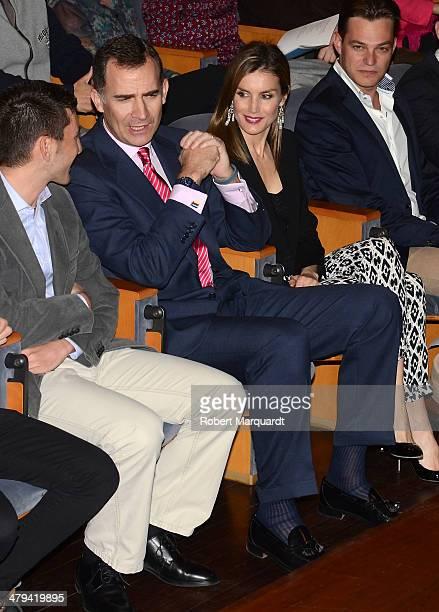 Prince Felipe of Spain and Princess Letizia of Spain attend 'Jovenes Con Voz Propia' at the CaixaForum on March 18 2014 in Barcelona Spain