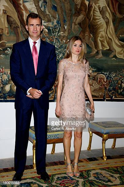 Prince Felipe of Spain and Princess Letizia of Spain attend official dinner at Almudaina Palace on August 8 2012 in Palma de Mallorca Spain