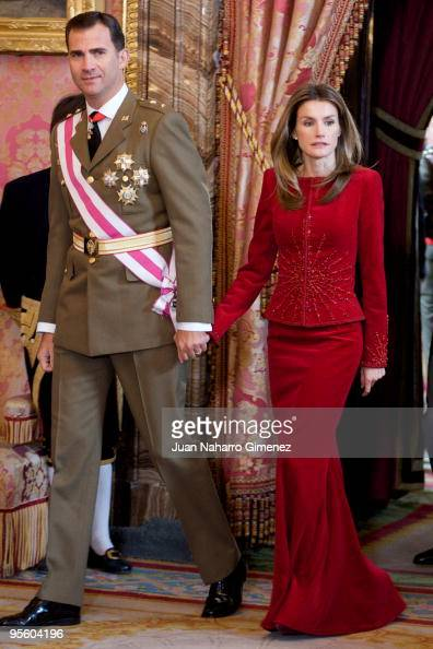 Prince Felipe of Spain and Princess Letizia of Spain attend 'Pascua Militar' at the Royal Palace on January 6 2010 in Madrid Spain