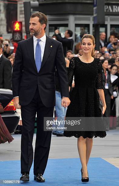 Prince Felipe of Spain and Princess Letizia of Spain attend 'Prince of Asturias Awards 2010' ceremony at the Campoamor Theatre on October 22 2010 in...