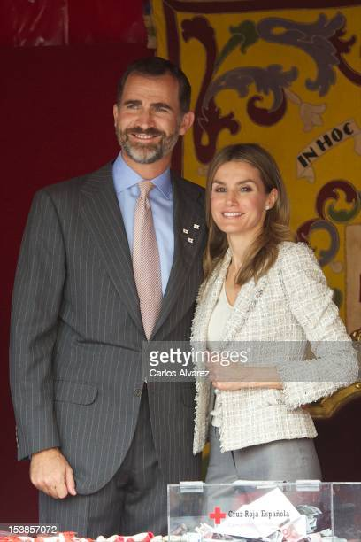 Prince Felipe of Spain and Princess Letizia of Spain attend Red Cross Fundraising Day 2012 on October 10 2012 in Madrid Spain