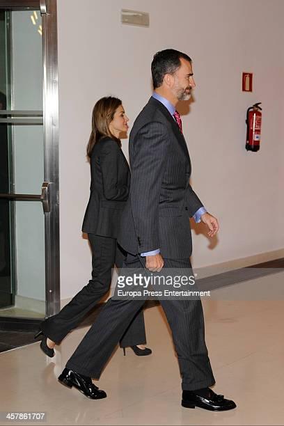 Prince Felipe of Spain and Princess Letizia of Spain attend Santander Scholarships delivery on December 19 2013 in Madrid Spain