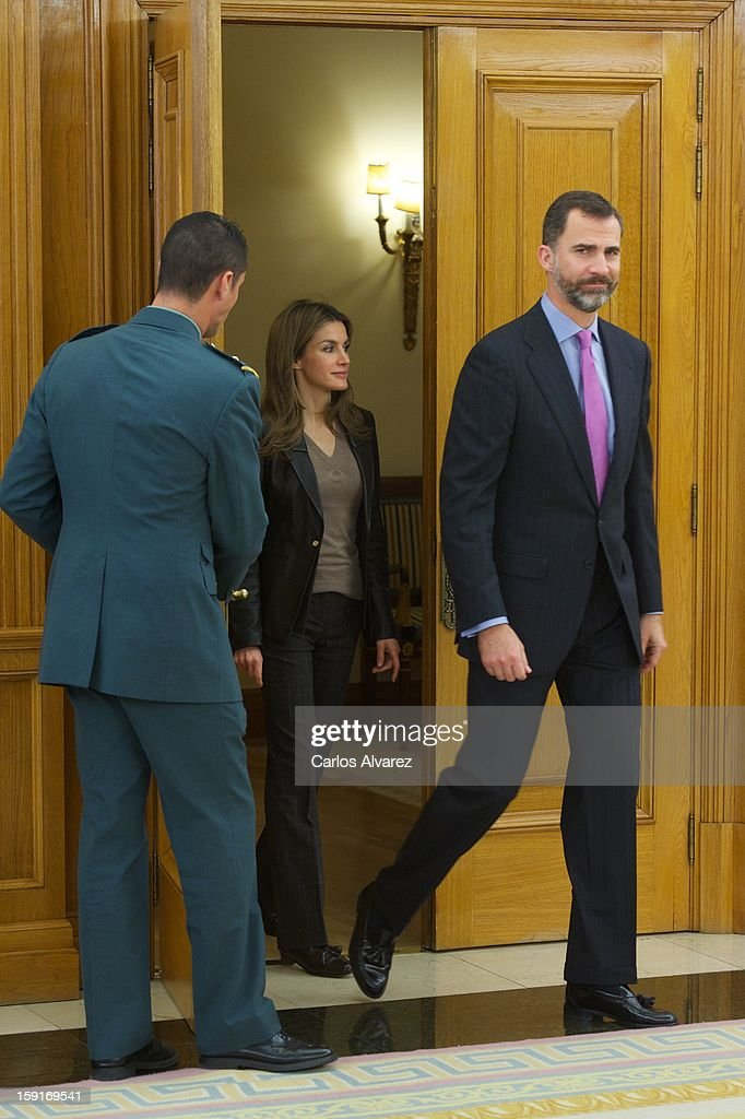 Prince Felipe of Spain and Princess Letizia of Spain attend several audiences at Zarzuela Palace on January 9, 2013 in Madrid, Spain.