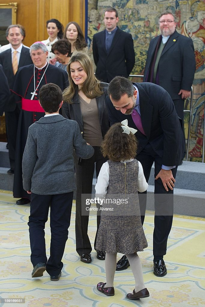 Prince Felipe of Spain and Princess <a gi-track='captionPersonalityLinkClicked' href=/galleries/search?phrase=Letizia+of+Spain&family=editorial&specificpeople=158373 ng-click='$event.stopPropagation()'>Letizia of Spain</a> attend several audiences at Zarzuela Palace on January 9, 2013 in Madrid, Spain.