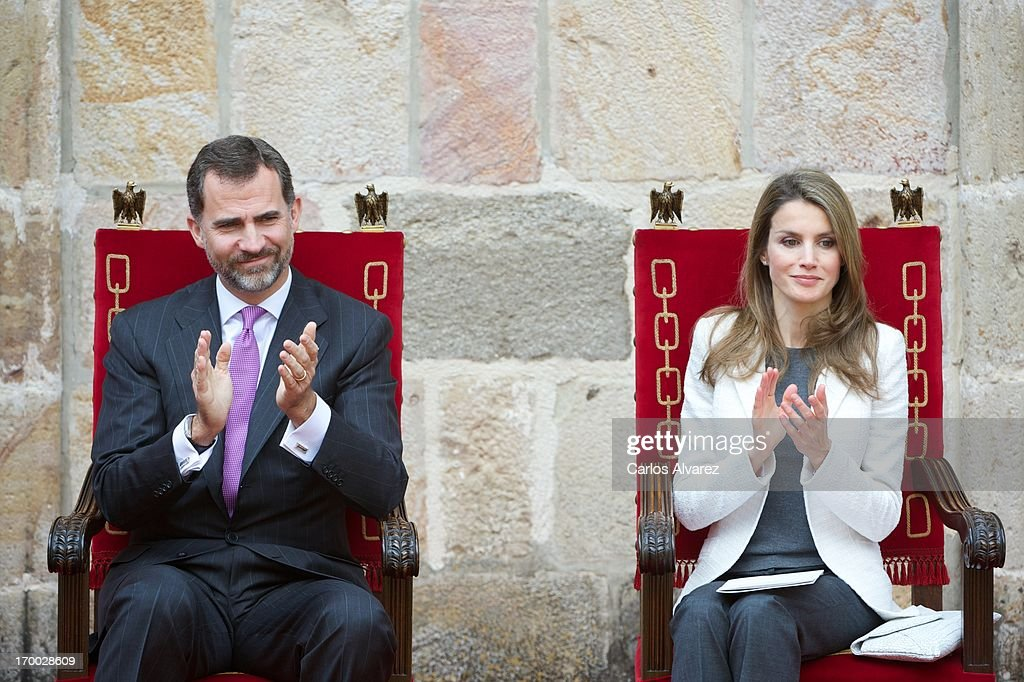 Prince Felipe of Spain and Princess <a gi-track='captionPersonalityLinkClicked' href=/galleries/search?phrase=Letizia+of+Spain&family=editorial&specificpeople=158373 ng-click='$event.stopPropagation()'>Letizia of Spain</a> attend the 'Principe de Viana' 2013 award at San Salvador de Leyre Monastery on June 6, 2013 in Navarra, Spain.
