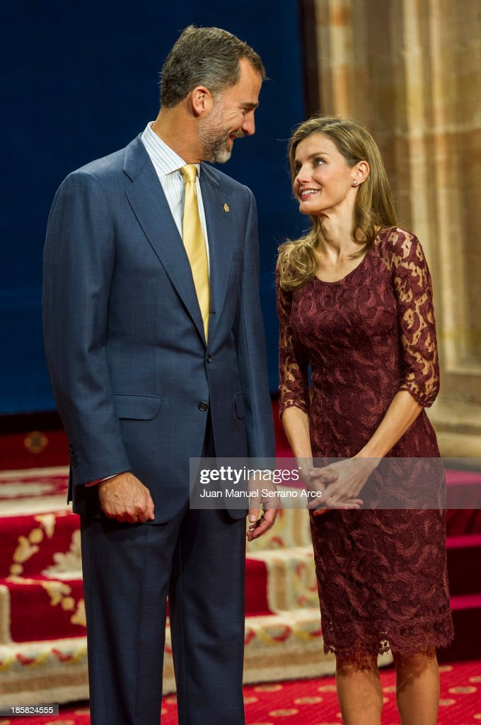 Prince Felipe of Spain and Princess <a gi-track='captionPersonalityLinkClicked' href=/galleries/search?phrase=Letizia+of+Spain&family=editorial&specificpeople=158373 ng-click='$event.stopPropagation()'>Letizia of Spain</a> attend the Principes de Asturias Awards 2013 at the Reconquista Hotel on October 25, 2013 in Oviedo, Spain.