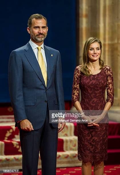 Prince Felipe of Spain and Princess Letizia of Spain attend the Principes de Asturias Awards 2013 at the Reconquista Hotel on October 25 2013 in...