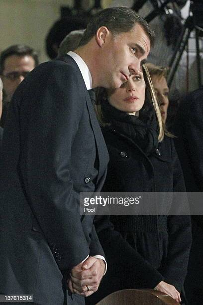 Prince Felipe of Spain and Princess Letizia of Spain attend the funeral mass of Manuel Fraga Iribarne held in La Almudena Cathedral on January 23...