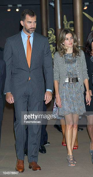 Prince Felipe of Spain and Princess Letizia of Spain attend the opening of 'In Principio Erat VerbumEl Reino de Leon y sus Beatos' exhibition on...