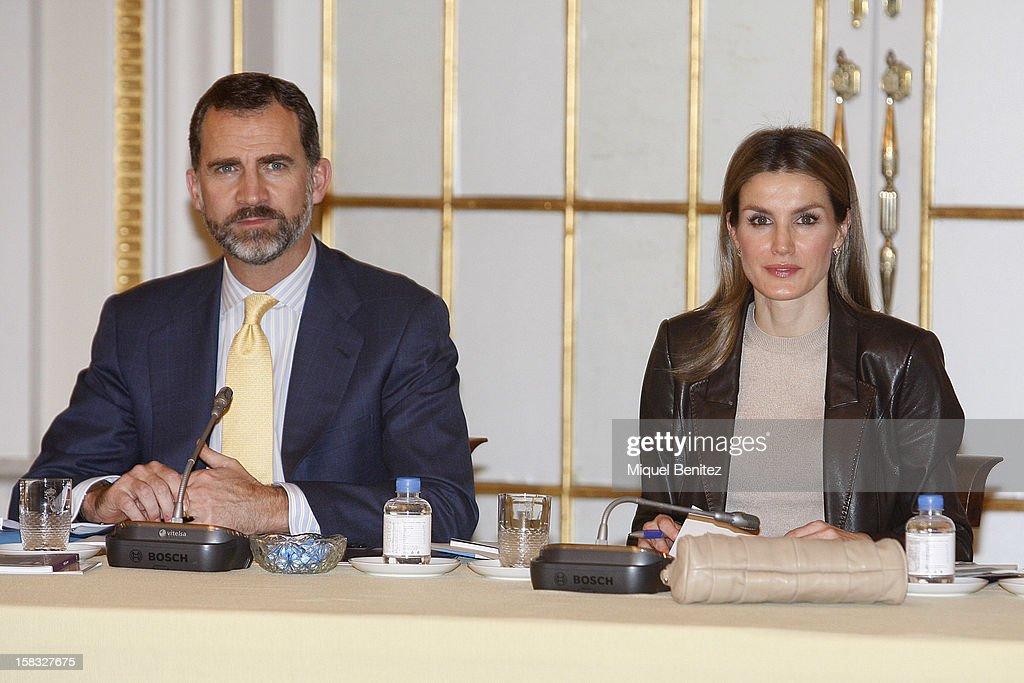 Prince Felipe of Spain and Princess Letizia of Spain attend the Meeting of 'Principe de Girona's Foundation' at the Palauet Albeniz on December 13...