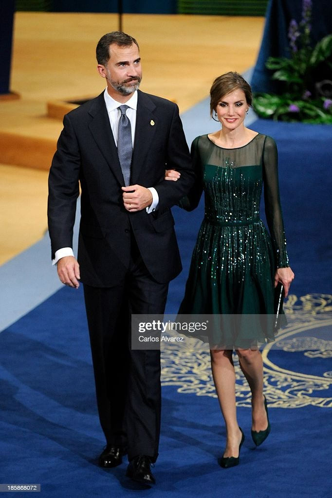 Prince Felipe of Spain and Princess <a gi-track='captionPersonalityLinkClicked' href=/galleries/search?phrase=Letizia+of+Spain&family=editorial&specificpeople=158373 ng-click='$event.stopPropagation()'>Letizia of Spain</a> attend the 'Prince of Asturias Awards 2013' ceremony at the Campoamor Theater on October 25, 2013 in Oviedo, Spain.