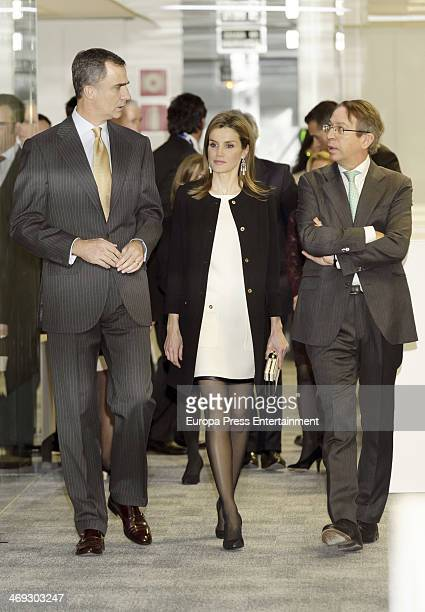 Prince Felipe of Spain and Princess Letizia of Spain attend the opening of the new headquarters of EFE press agency on February 13 2014 in Madrid...