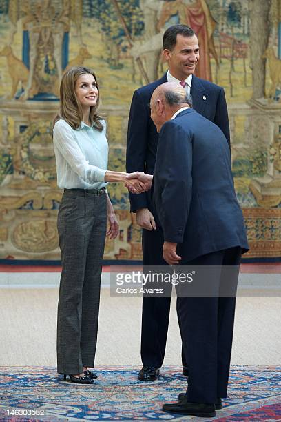 Prince Felipe of Spain and Princess Letizia of Spain attend the annual meeting with 'Principe de Asturias' foundation members at the El Pardo Palace...