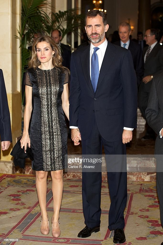 Prince Felipe of Spain and Princess <a gi-track='captionPersonalityLinkClicked' href=/galleries/search?phrase=Letizia+of+Spain&family=editorial&specificpeople=158373 ng-click='$event.stopPropagation()'>Letizia of Spain</a> attend the 'Francisco Cerecedo Journalism Award' ceremony at the Ritz Hotel on November 20, 2012 in Madrid, Spain.