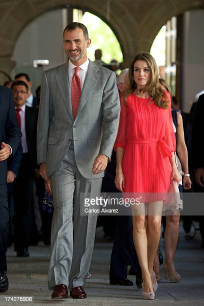 Prince Felipe of Spain and Princess Letizia of Spain attend the 'Instituto Cervantes' directors meeteng at the San Francisco Cultural center on July...