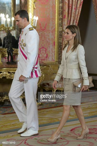 Prince Felipe of Spain and Princess Letizia of Spain attend the Spain's National Armed Forces Day reception at the Royal Palace on June 8 2014 in...