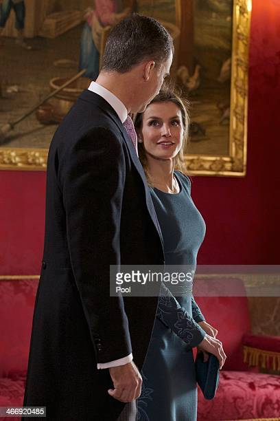Prince Felipe of Spain and Princess Letizia of Spain attend the annual Foreign Ambassadors reception at the Royal Palace on February 5 2014 in Madrid...