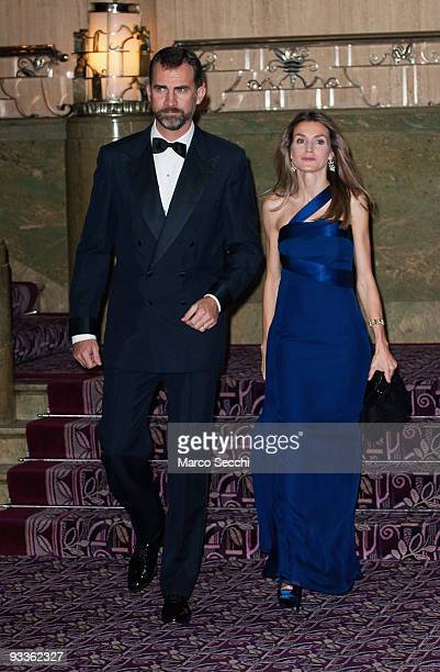 Prince Felipe of Spain and Princess Letizia of Spain attend the Foreign Press Association Media Awards Ceremony at the Sheraton Park Lane on November...