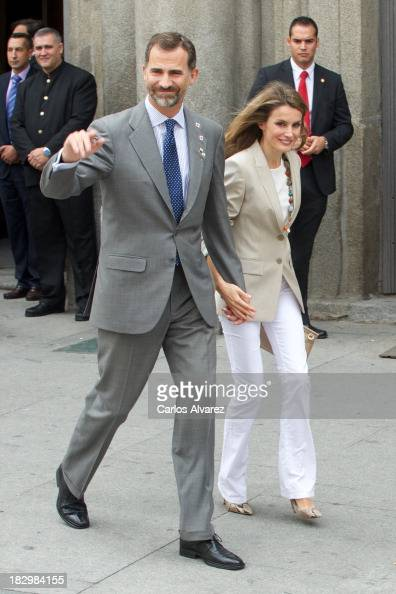 Prince Felipe of Spain and Princess Letizia of Spain attend the Red Cross Fundraising Day 2013 on October 3 2013 in Madrid Spain
