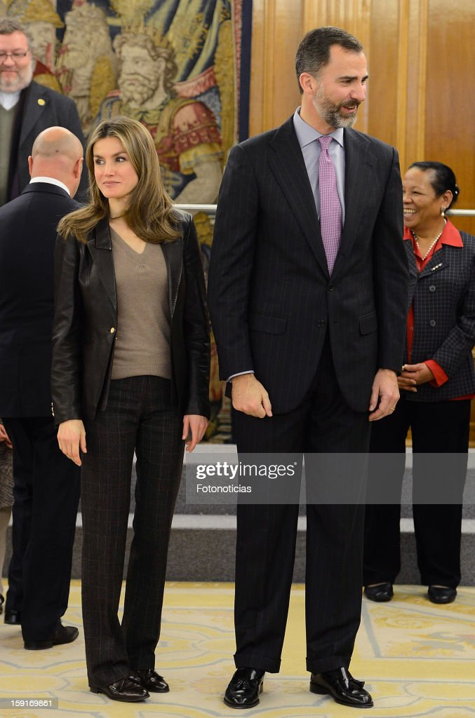 Prince Felipe of Spain (R) and Princess Letizia of Spain attends an audience at Zarzuela Palace on January 9, 2013 in Madrid, Spain.