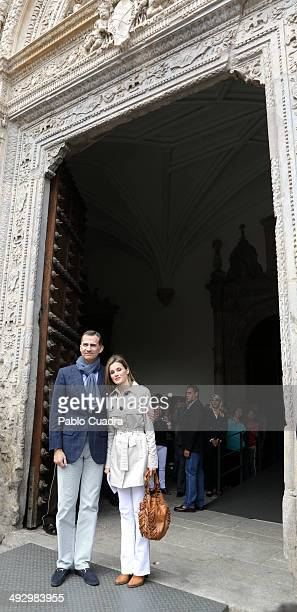 Prince Felipe of Spain and Princess Letizia of Spain celebrate Their 10th Wedding Anniversary visiting 'El Greco' exhibition at the 'Santa Cruz'...