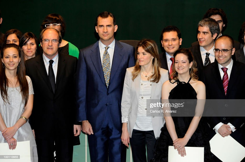 Prince Felipe of Spain and Princess Letizia of Spain (C) deliver Caja Madrid Post Grade Grants at the Reina Sofia museum on May 21, 2010 in Madrid, Spain.