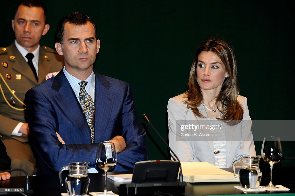 Prince Felipe of Spain and Princess Letizia of Spain deliver Caja Madrid Post Grade Grants at the Reina Sofia museum on May 21, 2010 in Madrid, Spain.