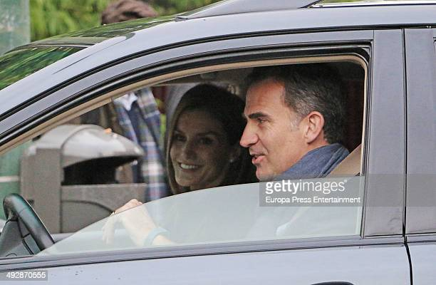 Prince Felipe of Spain and Princess Letizia of Spain drop their children at school on their 10th wedding anniversary on May 22 2014 in Madrid Spain