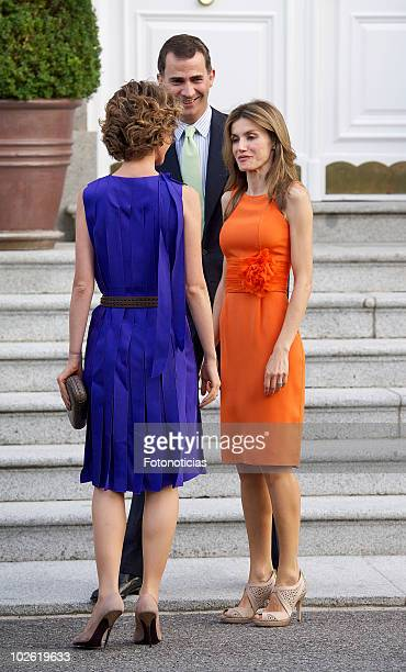 Prince Felipe of Spain and Princess Letizia of Spain receive Asma alAssad at Zarzuela Palace on July 4 2010 in Madrid Spain