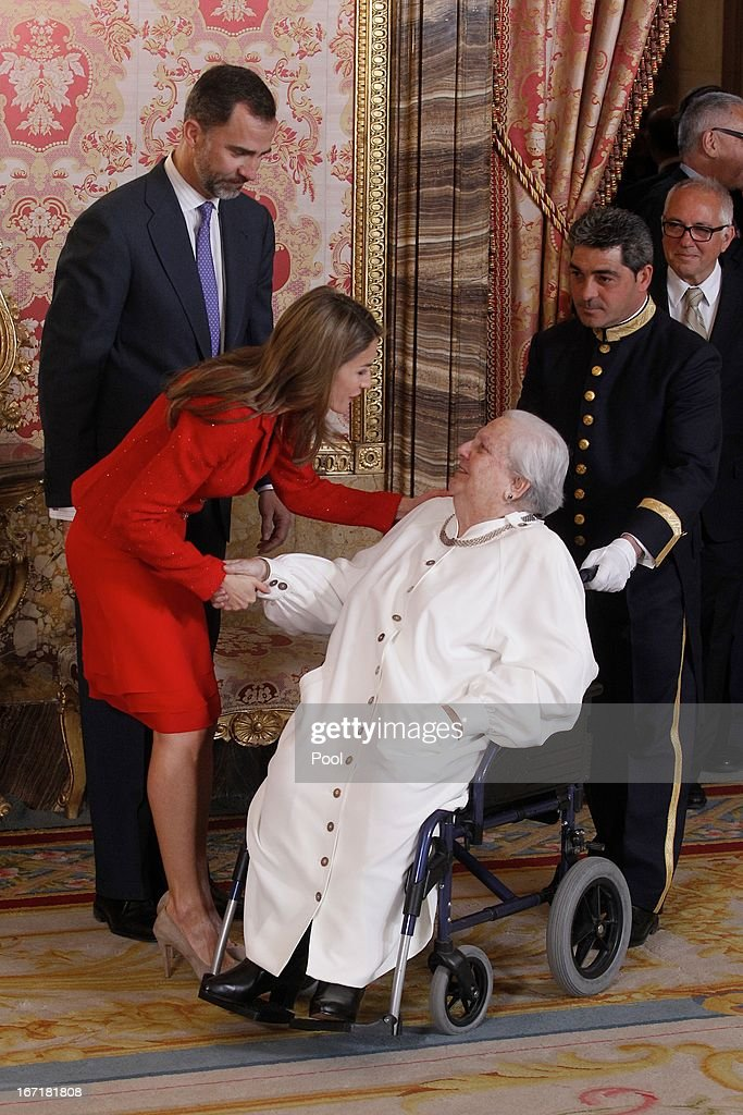 Prince Felipe of Spain and Princess Letizia of Spain receive Carmen Balcells (R) for a lunch at the '2013 Cervantes Award' at the Royal Palace on April 22, 2013 in Madrid, Spain.