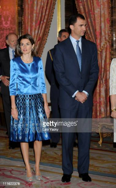 Prince Felipe of Spain and Princess Letizia of Spain receive guests at the writers reception held at The Royal Palace on April 29 2008 in Madrid Spain