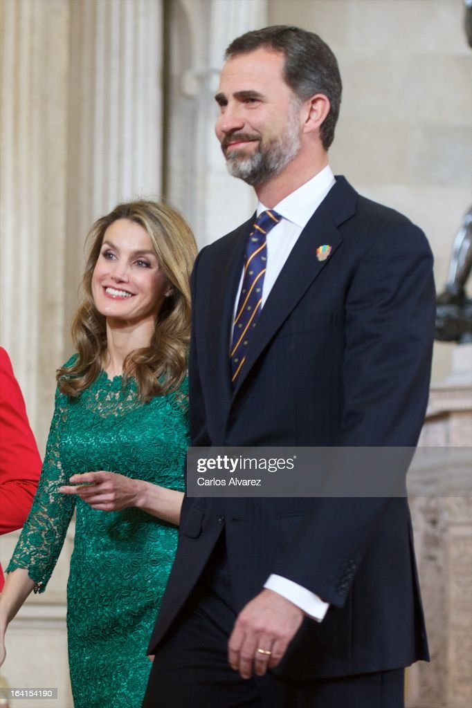 Prince Felipe of Spain and Princess Letizia of Spain receive International Olympic Committee Evaluation Commission Team for a dinner at the Royal Palace on March 20, 2013 in Madrid, Spain.