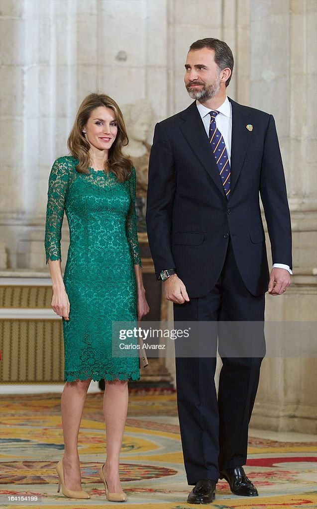 Prince Felipe of Spain and Princess <a gi-track='captionPersonalityLinkClicked' href=/galleries/search?phrase=Letizia+of+Spain&family=editorial&specificpeople=158373 ng-click='$event.stopPropagation()'>Letizia of Spain</a> receive International Olympic Committee Evaluation Commission Team for a dinner at the Royal Palace on March 20, 2013 in Madrid, Spain.
