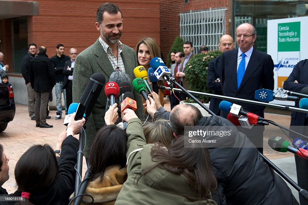 Prince Felipe of Spain and Princess <a gi-track='captionPersonalityLinkClicked' href=/galleries/search?phrase=Letizia+of+Spain&family=editorial&specificpeople=158373 ng-click='$event.stopPropagation()'>Letizia of Spain</a> talk to media after visiting King Juan Carlos of Spain at La Milagrosa Hospital on March 3, 2013 in Madrid, Spain. King Juan Carlos of Spain goes under surgery for a lower back disc hernia at La Milagrosa Hospital on March 3, 2013 in Madrid, Spain. He had hip surgery last November. The King has had several other health issues in the past two years, including knee surgery and the removal of a benign lung tumor.